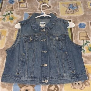 Old Navy Medium Wash Distressed Denim Vest